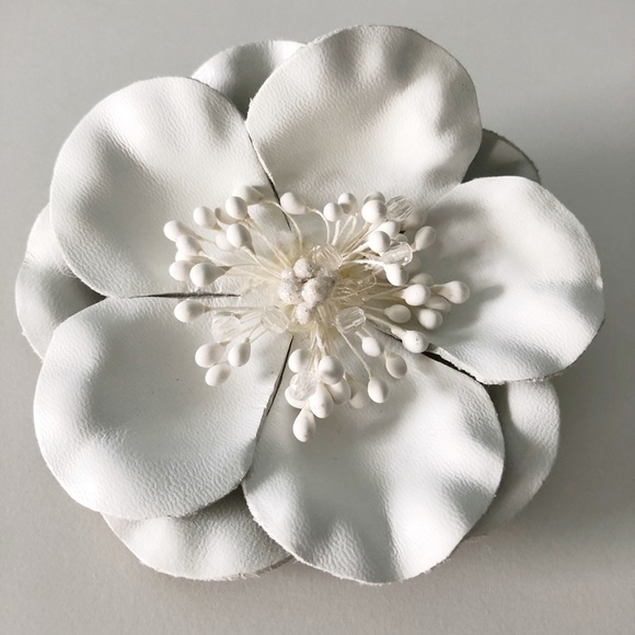 Jewelry white leather flower brooch and pin poshmark white leather flower brooch and pin mightylinksfo